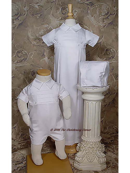 Boys Cotton Christening Gown & Romper Set