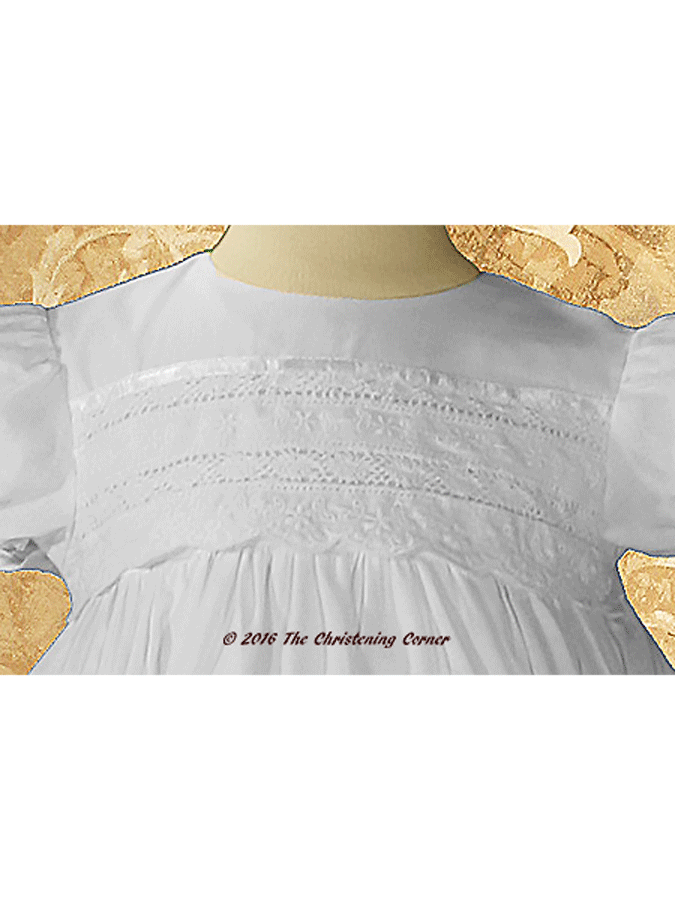 Girls Christening Gown with Venise Lace - bodice