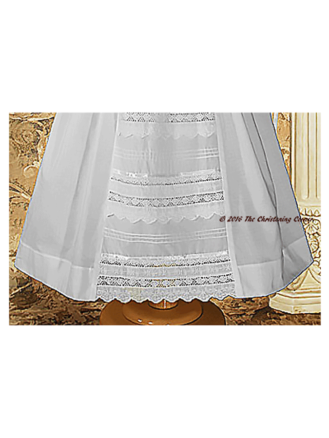 Girls Christening Gown with Venise Lace - hem