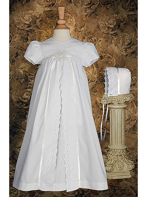 Lace & Pintuck Split Panel Christening Gown