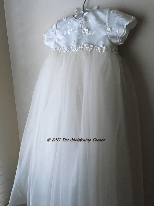 Sarah Louise Applique Tulle Christening Gown