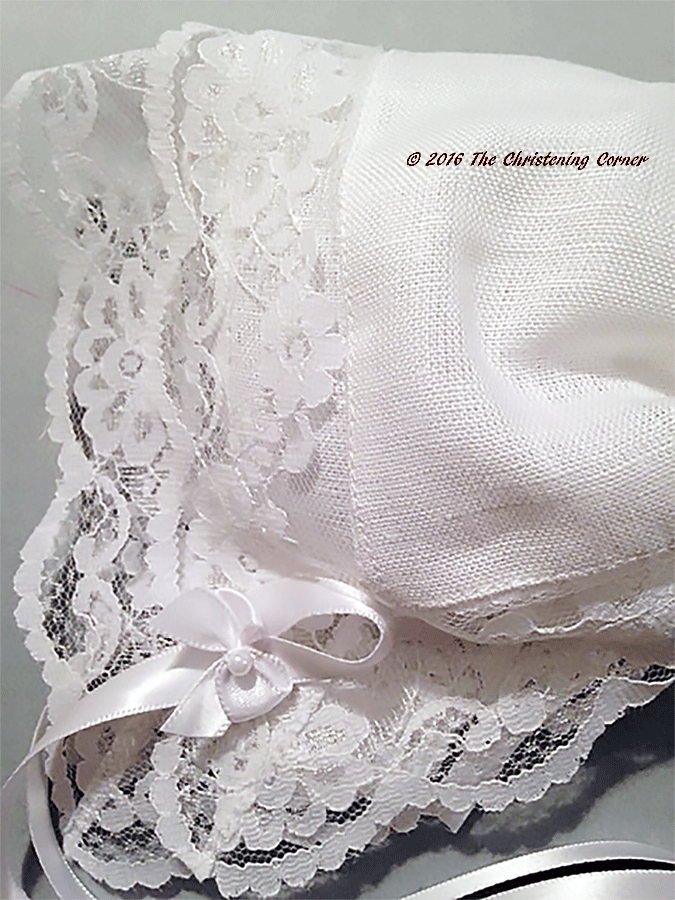 Bridal Dress Lace - Linen Hankie Bonnet - detail