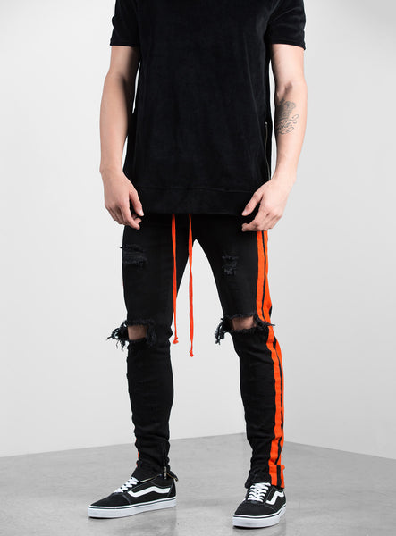 Double Striped Track Jeans V2 in Black and Orange