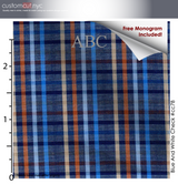 Blue Multi Color Sagamore Plaid #cc78, 100% Cotton, Men's Monogrammed Custom Tailored Dress Shirt gs