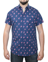 Short Sleeve Printed Button Shirt Flamingo 100% Cotton