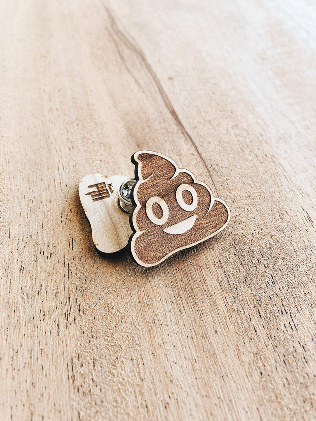 Jake Mize Poop Emoji Wooden Pin