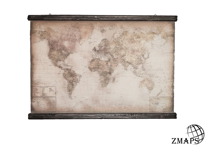 "German world map, 63""x39"", 159x100cm, Modern world, Ancient chestnut from the old ship"