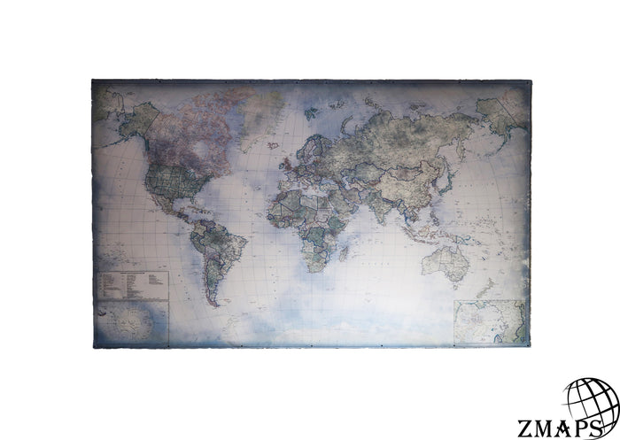 "Blue world map, 66""x40"", 170 x 104 cm, Modern world 2019, Ancient blue feel"