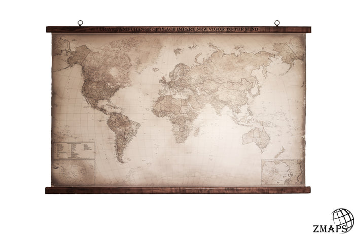 "Powerful world map, 62""x39"", 157x100cm, Engraved quote by Seneca"