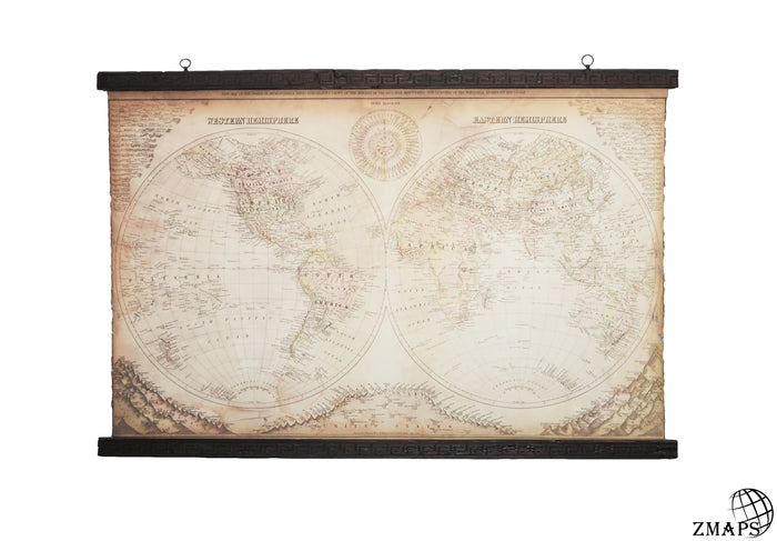 Unique world map from the late 1800s,  150 x 100 cm / 59'' x 39'' Two hemispheres