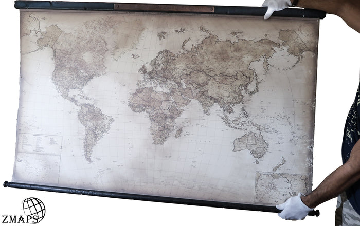 "World map 2019, Size 61""x39"", 156x100cm, Rusty plaque: Explore,dream,discover by Mark Twain"