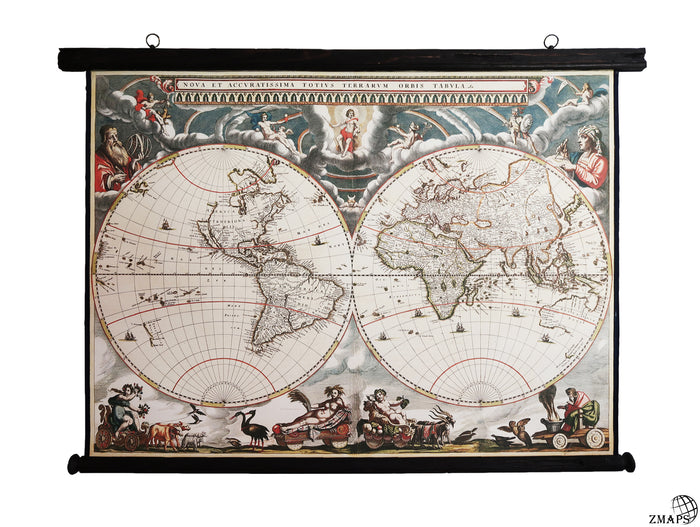 Hemisphere world map 1664, 48'' x 36'', 123 x 92cm, Antique wooden frame and vintage canvas