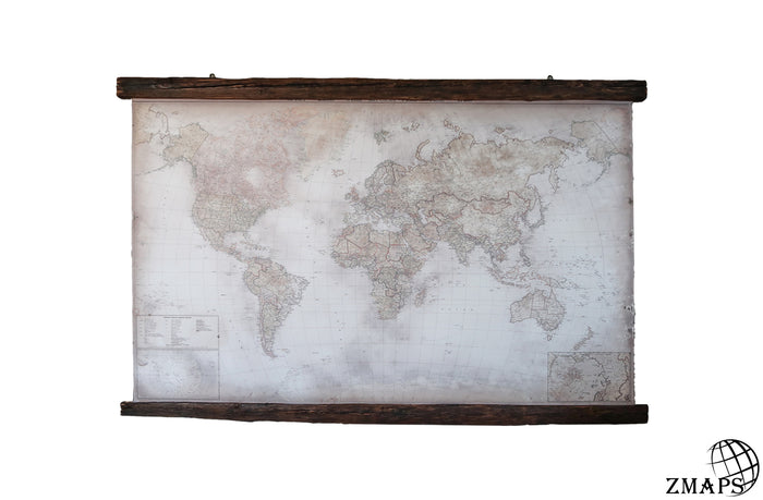 Framed modern world map 2019, 88'' x 62'', 224 x 160 cm, Cotton canvas, Nice country house decor
