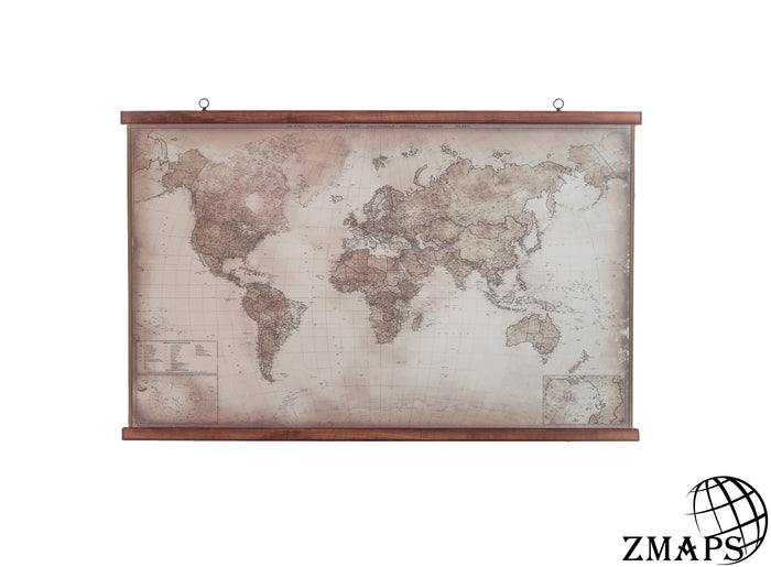 massive wooden frame for modern world map