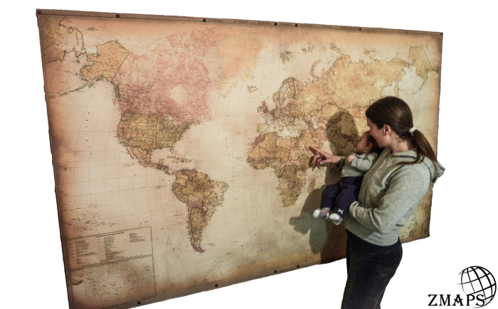 Super size modern world map 2019, Push pin travel map, 90'' x 55'', 230 x 140 cm