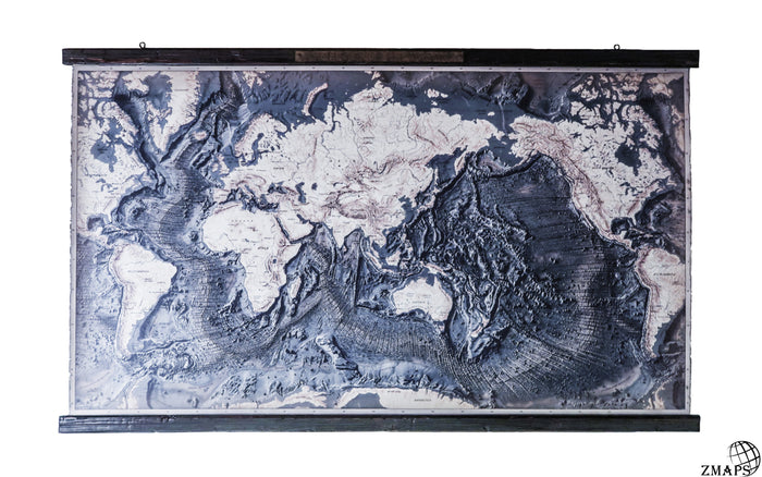 Super large Ocean floor map, 100'' x 59'', 255 x 150 cm, Antique wood and engraved steel plaque