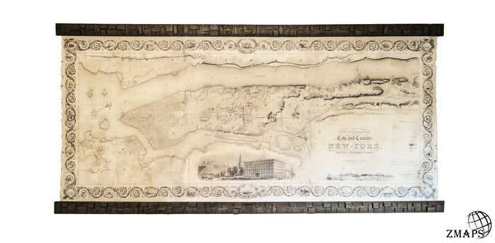 Old Map of New York city, 40''x87''/100x226 cm