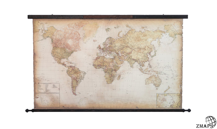 "Modern world map, 67""x39"", 168x98cm, Engraved rusty iron plaque Not all those who wander are lost"