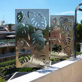 Monstera screen lasercut raw aluminum parapet terrace divider