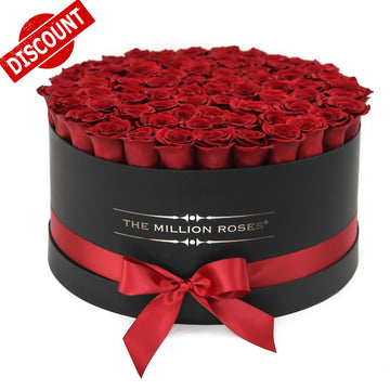 101 trandafiri naturali in cutie de lux The Million Roses