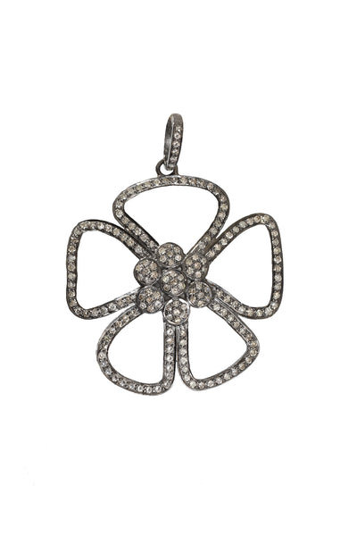Pave Diamond Open Flower Pendant