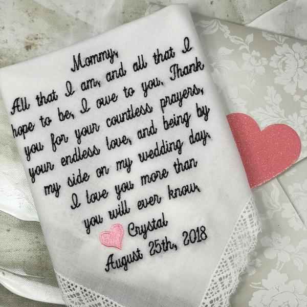 Mother of the Bride Wedding Handkerchief, Wedding Handkerchief Mother of the Bride Gift, EMBROIDERED-CUSTOMIZED-wEDDING hANKIES-personalized