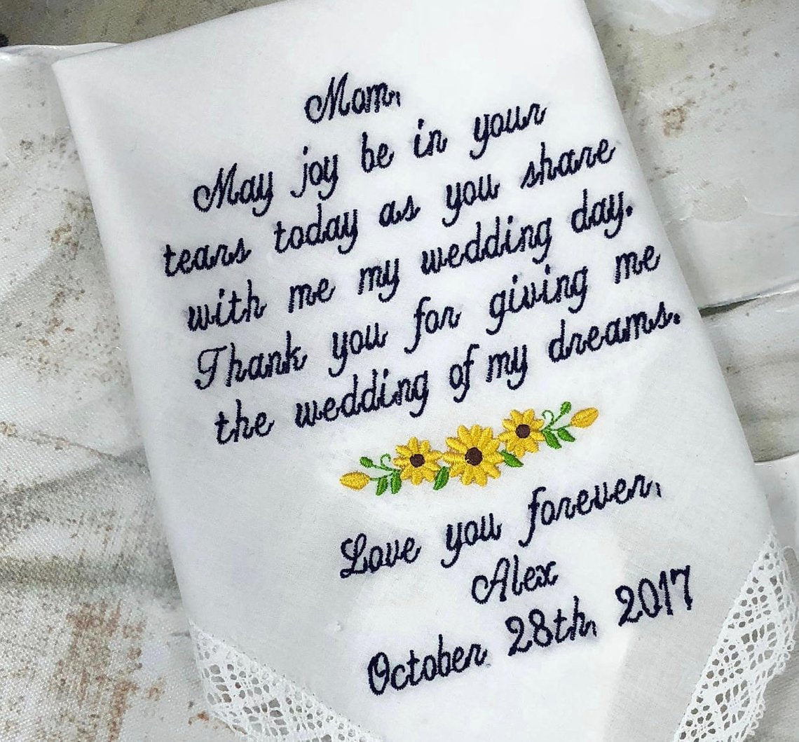 Wedding Handkerchief For Mom-Mom Handkerchief-Mother Of The Bride Wedding Gift-WeddingHandkerchief Wedding Hanky Love You Forever Gift