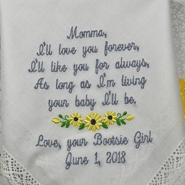 Mother Wedding Handkerchief, Custom Embroidered Wedding Gift