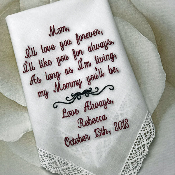 Wedding gift, Wedding Present for Mom, Mother of the Bride, Mom Gift from Daughter, Embroidered Hankerchief, Personalized Hankerchief, 8-10-