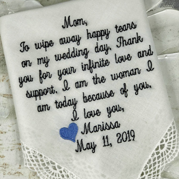 Mother Of The Bride Wedding Handkerchief. Custom 40 embroidered words. Wedding Gift For Mom From Bride Or Groom. Embroidered Handkerchief