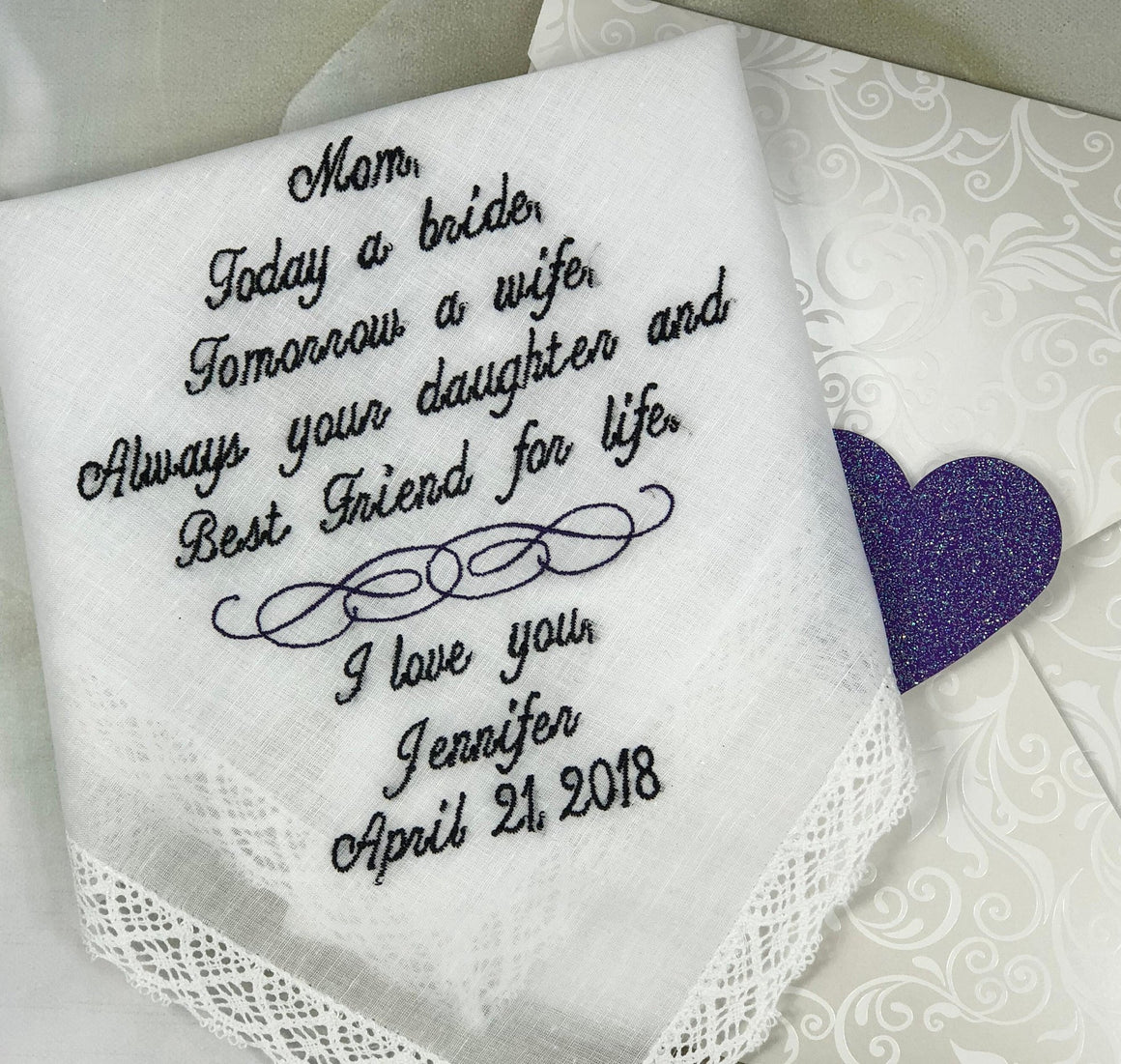 Mother Of The Bride Handkerchief - Today a Bride, Tomorrow a Wife, Best Friend for Life-Mother Of The Bride Hankerchief-Wedding Handkerchief