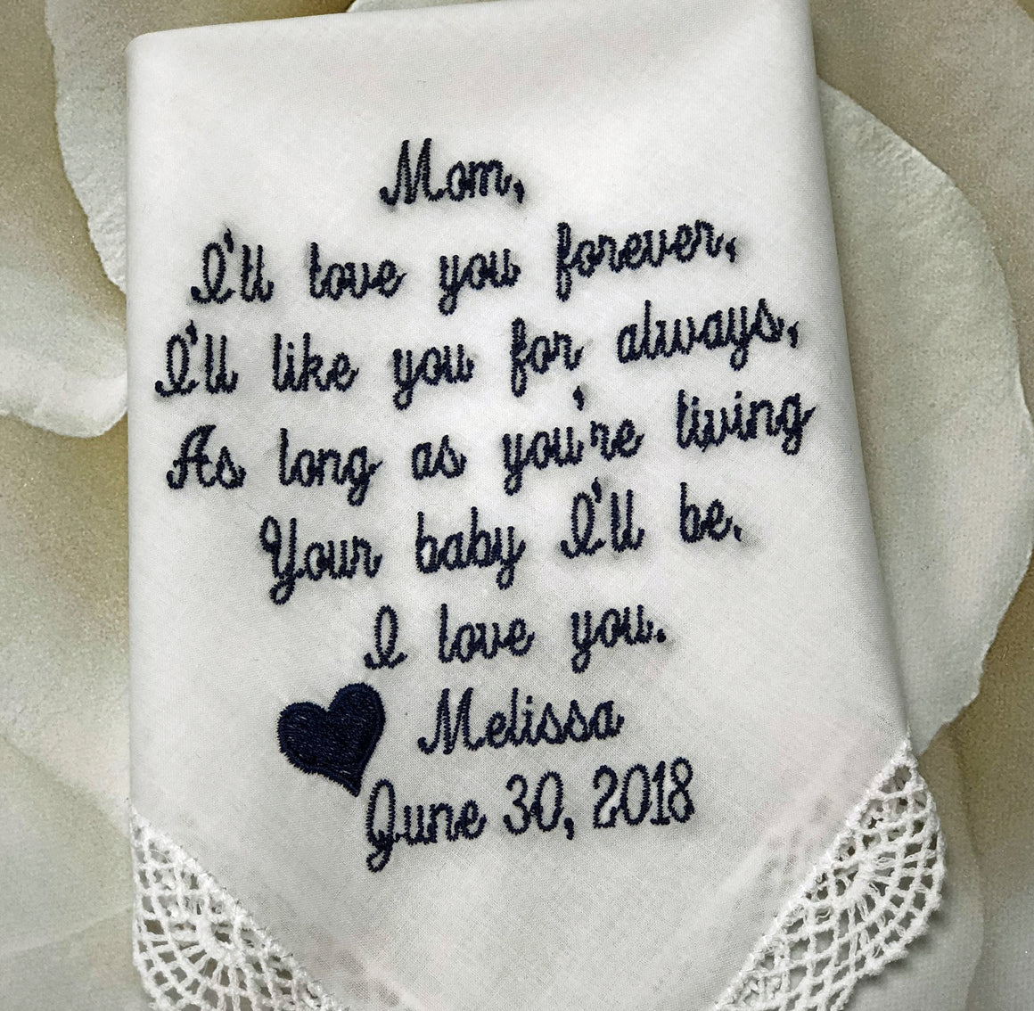 Mother of the Bride-Embroidered Wedding Handkerchief Wedding Gift For Mom From Bride Custom Hankies, Personalized Handkerchief Wedding Gift