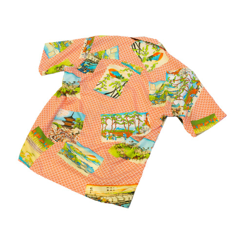 Gitman Vintage Hokusai Camp Shirt Orange