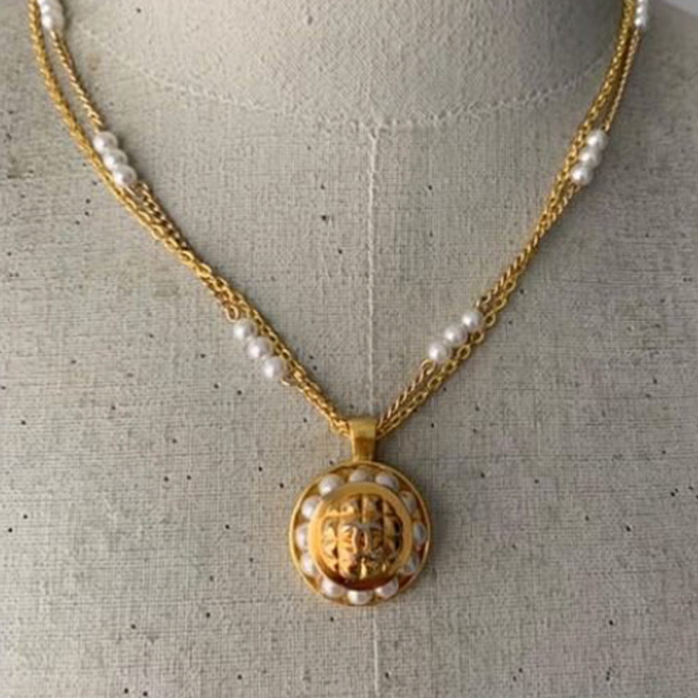 Designer Gold and Pearl Button Necklace