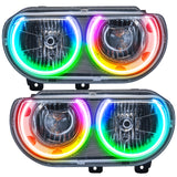 2008-2014 Dodge Challenger Pre-Assembled Headlights-Chrome-(Non-HID) Dynamic ColorSHIFT
