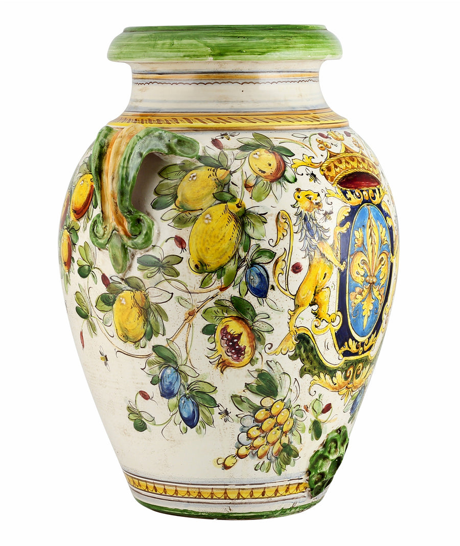 MAJOLICA TOSCANA: Orcio Urn ~ Montelupo Bees/Crest/Lion Design LARGE