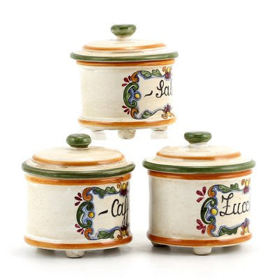 MAJOLICA: Canister set (3 pieces) Zucchero Sale Caffe