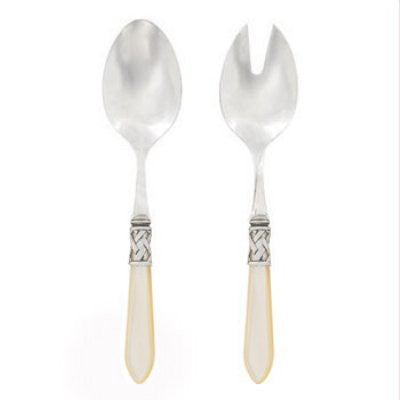 VIETRI: Aladdin Antique Ivory Salad Server Set