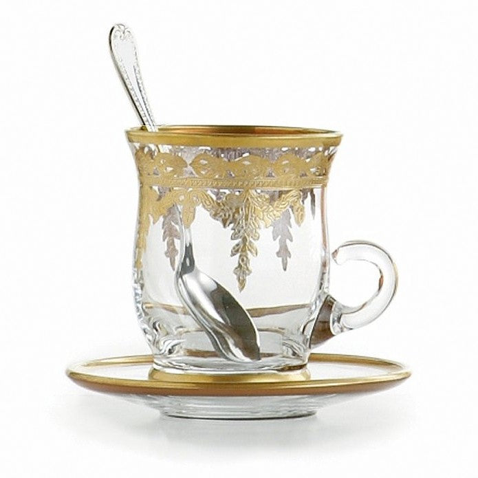 ARTE ITALICA: Vetro Gold Cup & Saucer, with Spoon