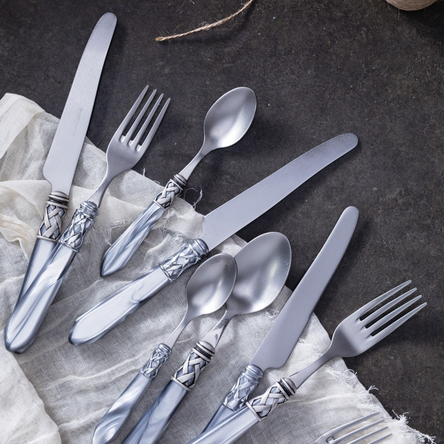VIETRI: Aladdin Antique Light Gray Five-Piece Place Setting