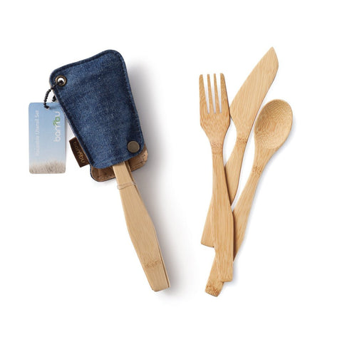Bambu - Bamboo Travel Utensil Set in Kemp Denim Case All Things Being Eco Zero Waste Living Specialists