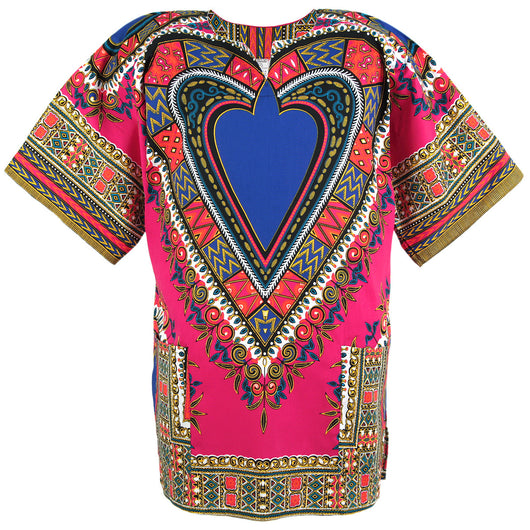 Pink and Blue Heart African Dashiki Shirt