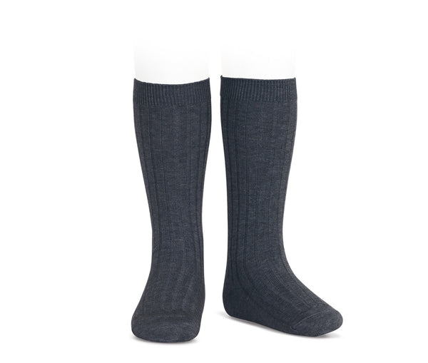 Condor Ribbed Knee High Sock Charcoal