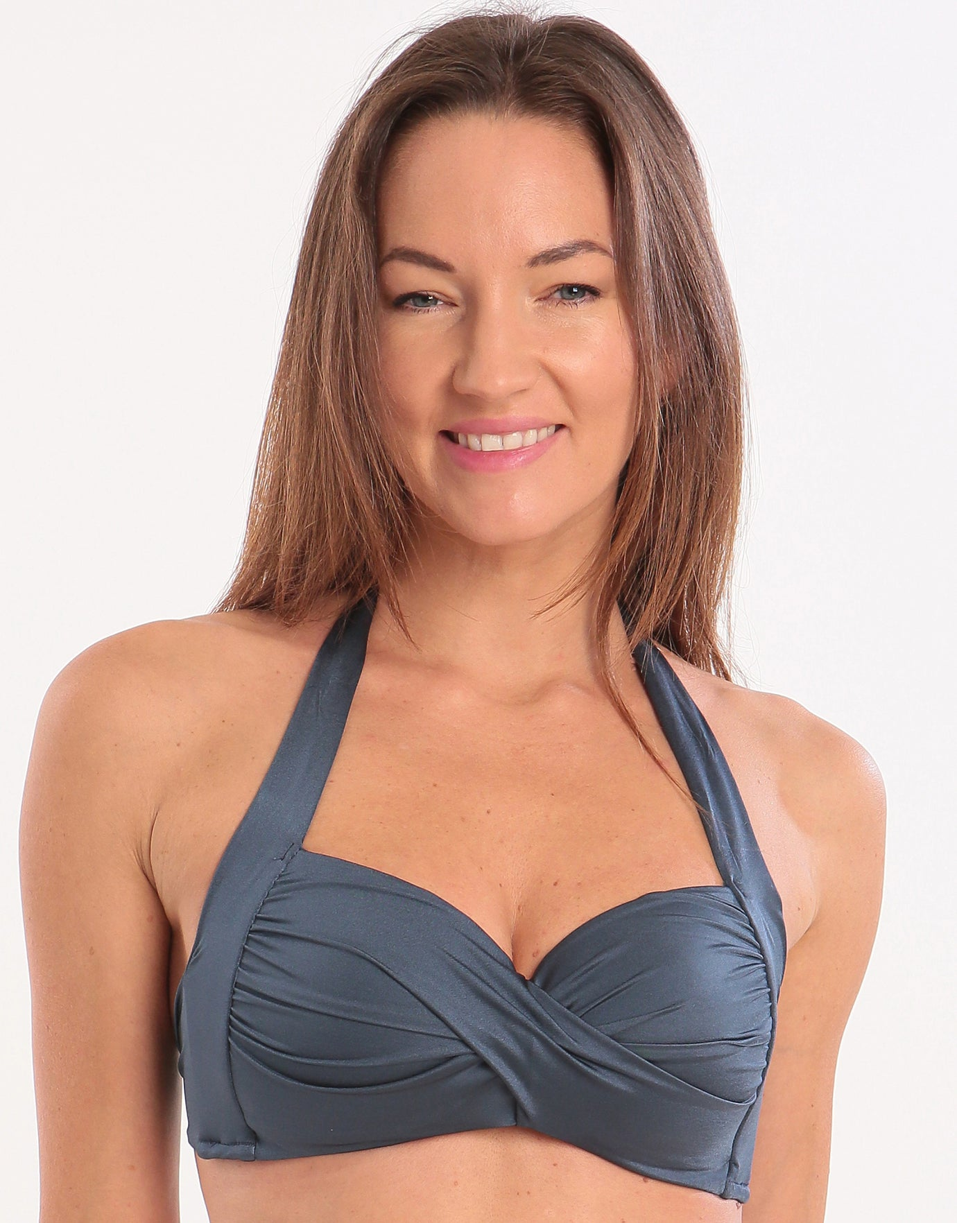 Seafolly Shine On Twist Soft Cup Halter Bikini Top - Blueprint