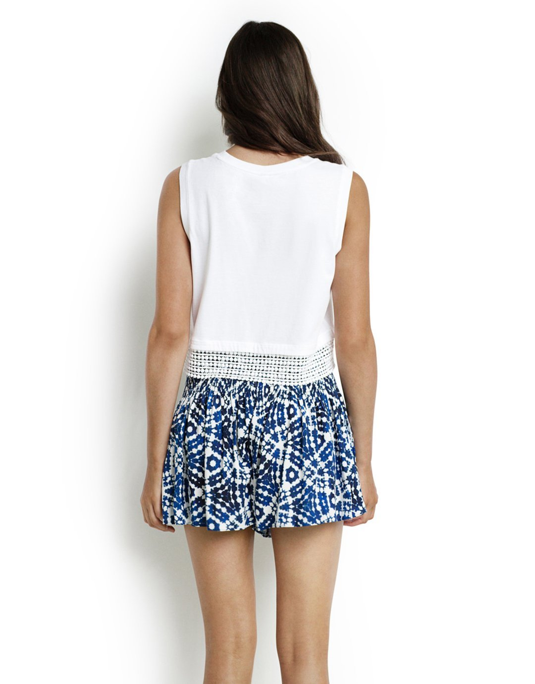 Seafolly Lace Hem Cropped Tank - White