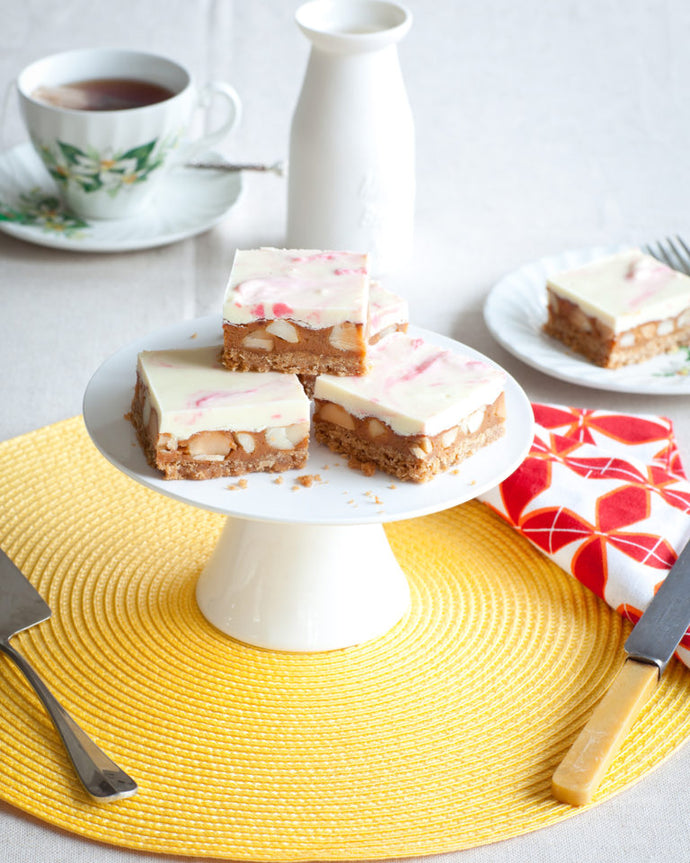 Gluten Free White Chocolate-Macadamia Slice