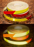 1 Inch Lime Yellow and Red Pre-Striped Reflective Tape