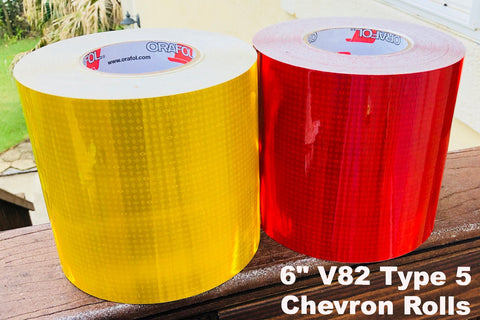 "6"" V82 Type 5 Prismatic Chevron Tape Rolls - 30' & 150' Rolls"