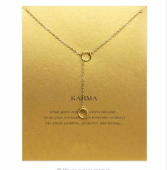 have Card Sparkling karma double circle lariat necklace gold plated Pendant necklace Clavicle Chains Fashion Women Jewelry - FabFunBride