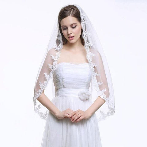One Tier Lace edge veil - FabFunBride